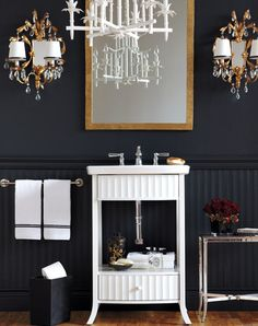 Style at Home - bathrooms - Kohler Kelston 23 in. W Petite Vanity Cabinet Only in Lily,, black, walls, black, chair rail, black, beadboard, white, faux bamboo, mirror, antique, brass, double sconces, flanking, gold leaf, mirror,