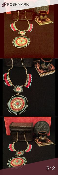 Necklace & Earring Set Red and Turquoise Mayan styled Necklace and Earring Set.  Necklace has an extender. Jewelry Necklaces