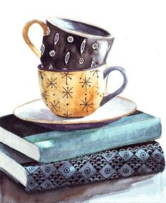books, art, and cup image