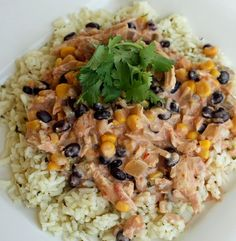 Easy Crockpot Fiesta Chicken: 4 chicken breasts, frozen or thawed, 1 can black beans (drained and rinsed), 1 can corn drained, and 1 jar of your favorite salsa on low 4-5 hours. Shred chicken and add 8 ounce package cream cheese for 30 min. Serve over rice or in tortilla shells