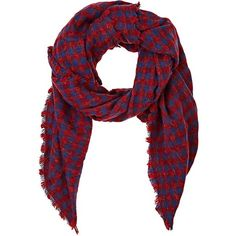 Barneys New York Women's Buffalo-Checked Woven Scarf ($59) ❤ liked on Polyvore featuring accessories, scarves, patterned scarves, print scarves, woven shawl, braided scarves and woven scarves