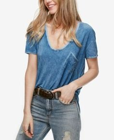 Free People Rising Sun Scoop-Neck T-Shirt - Blue L