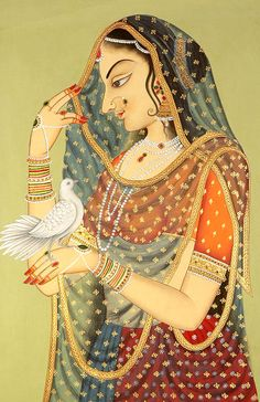 """ Lady with Messenger Pigeon "" Exotic India Art Traditional Art. Pichwai Paintings, Mughal Paintings, Indian Art Paintings, Painting Art, Rajasthani Painting, Rajasthani Art, Rajasthani Miniature Paintings, Empire Moghol, Art Indien"