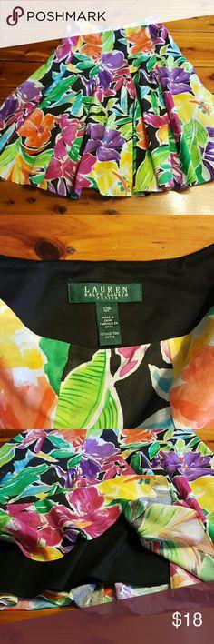 SALE!! Ralph Lauren skirt Fun floral print skirt, flows very well.   Side zipper.  Layered with black cotton underskirt. Ralph Lauren Skirts Midi