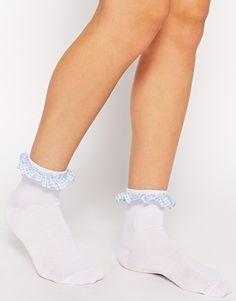 ASOS Socks With Gingham Trim