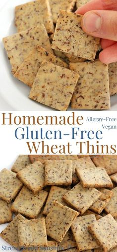 Homemade Gluten-Free Wheat Thins (Vegan, Allergy-Free) | Strength and Sunshine | Wheat-Free Wheat Thins? This Homemade Gluten-Free Wheat Thins recipe is a celiac-safe copycat of Nabisco's classic whole-grain cracker! This quick & easy healthy snack is vegan, allergy-free, and kid-friendly. Great for plain snacking, pairing with soups or salads, and topping with dips and spreads! #cracker #glutenfreesnack #vegansnack #healthysnack #wholegrain