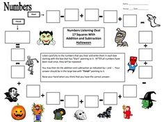 Numbers and Halloween Theme Math Listening Activity by Sue Summers