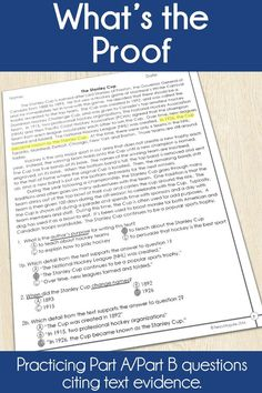 Give students practice with Part A Part B questions with this What's the Proof product.  Students practice identifying text evidence to support their answers- perfect for test prep! With duplicated pages, students can find and highlight their text evidence easily!  This is perfect for 3rd grade test prep, and ongoing work in whole group and small groups all year long! #textevidence #3rdgrade