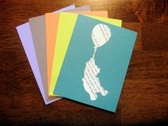 Winnie-the-Pooh and Balloon Classic Silhouette Bookprint Notecard with Envelope- Set of 5