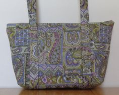 Green Tan Pink Purple Yellow Paisley Patchwork Print Quilted Purse by RoxannasBags on Etsy
