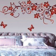 Wall Decal Switch Laptop Note Book Kids Girls Room Hall Cute Flowers Sticker