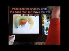 """Step by step water color tutorial for beginners """" a simple house"""""""