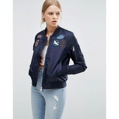 Brave Soul Logo Applique Bomber Jacket ($58) ❤ liked on Polyvore featuring outerwear, jackets, navy, navy bomber jacket, nylon bomber jacket, lined jacket, zip jacket and blouson jacket
