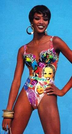 """Naomi Campbell for """"Vogue"""" America Gottex swimsuit featuring Josephine Baker. 90s Fashion, Vintage Fashion, Fashion Outfits, Celebrities Fashion, Couture Fashion, Stylish Outfits, Runway Fashion, Spring Fashion, Fashion Tips"""