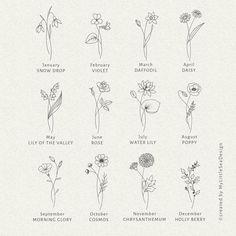 Birth Flower Tattoos, Small Flower Tattoos, Dainty Tattoos, Mini Tattoos, New Tattoos, Tatoos, Tattoo Ideas Flower, Flower Tattoo Designs, Delicate Flower Tattoo