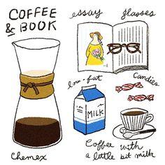 COFFEE & BOOK ひと息つきましょ〜 #coffee #coffeetime #illustration #drawing #design #北欧食器 #chemex #ケメックス #イラスト
