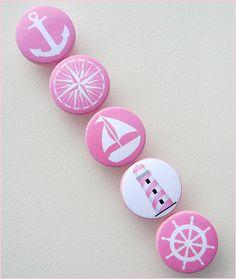 Kids Knobs  Drawer Pulls  Pink Nautical by SweetPetitesBoutique, $5.00