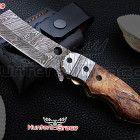 DAMASCUS HANDMADE HUNTING FOLDING KNIFE LINER LOCK CAMEL BONE HANDL