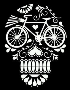 Sugar Skull Bicycle Art Day of the Dead, Dia de los Muertos. Cycling Quotes, Cycling Art, Cycling Tips, Cycling Jerseys, Tatoo Bike, Bike Tattoos, Velo Design, Bicycle Design, Geile T-shirts