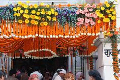 Sikh Temple in New Delhi decorated with marigold strands