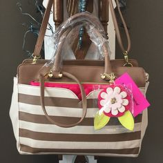 """Betsey Dip Satchel W/Pouch Insert This bag is beautiful! Spice/cream with Fuschia insert pouch which measures 10"""" X 8"""". Adorable flower with leaves &  in the center & mirror on the back. Fully adjustable, detachable shoulder strap. Front Fuschia insert is detachable. Inside zip pocket & 2 open pockets on opposite. NWT Betsey Johnson Bags"""