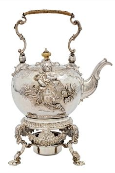 Silver kettle with ivory , Paul de Lamerie, London, 1736-38.   Paul de Lamerie (1688–1751) was the greatest silversmith working in England in the 18th century.