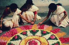 Flower rangoli, folk art from India.
