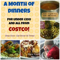 30 Dinners for Under $200 - All From Costco Menu Plan, Recipes and A Full Shopping list
