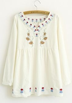 White Flowers Embroidery Long Sleeve Flax Blend Blouse