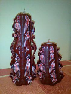 Faragott bordó gyertyáim -- Carved candle