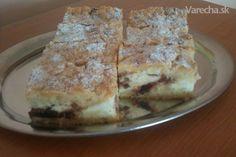 Tvarohový koláč s čokoládou a sušenými slivkami (fotorecept)