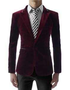 e9c573be4a9c9 Mens Slim Fit Single Breasted Peaked Lapel 1 Button Velvet Blazer at Amazon  Men s Clothing store