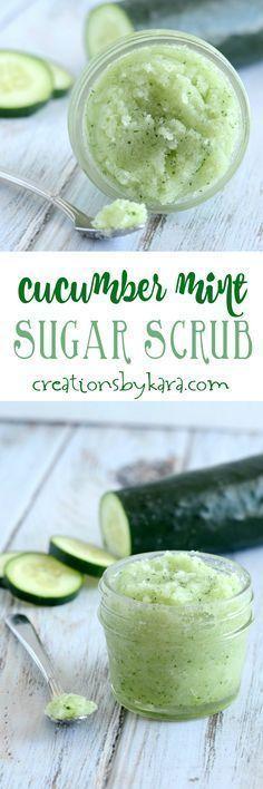 This simple cucumber mint sugar scrub smells fantastic, and helps soften up dry itchy skin. An invigorating sugar scrub recipe.