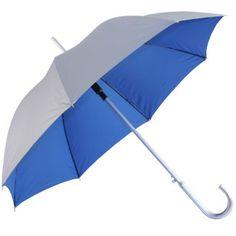 Stay dry under a silver blue umbrella