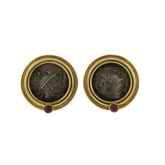 Large Gold Coin Ruby Earrings