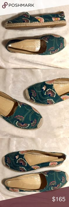 Charlotte Olympia Espadrilles Flats Shoes  Sandals Charlotte Olympia Espadrille.  Size 38.  Runs a bit small.  Fits like a US 7.5.  Insole 9.6 inches.  Canvas & leather lined upper.  Rubber Sole. Charlotte Olympia Shoes Espadrilles