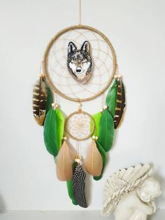 Wolf wall hanging decor dreamcatcher, feather dream catcher gift for kids, bedroom wall decor Materials: ~ metal rings hand wrapped in natural color jute cord ~ tan nylon string ~ wooden beads, gold beads ~ goose and pheasant feathers ~ embroidery wolf Dream Catcher Decor, Feather Dream Catcher, Bedroom Wall, Bedroom Decor, Wall Decor, Kids Bedroom, Pheasant Feathers, Hand Wrap, Gold Beads