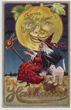 C 1911 Halloween Postcard Charms of The Witching Hour Witch Bats Moon Cat | eBay