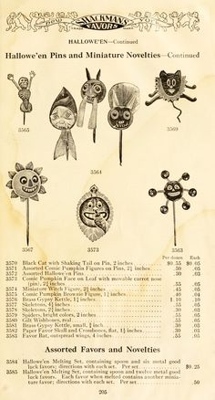 Catalog page, Halloween favors, 1911