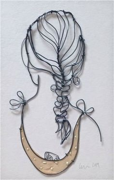 'Small' Metal wire and embroidery on fabric Christina James Nielsen String Art, … – Modern Sculptures Sur Fil, Sculpture Art, Wire Sculptures, Abstract Sculpture, Bronze Sculpture, Wire Crafts, Metal Crafts, Metal Tree Wall Art, Metal Art