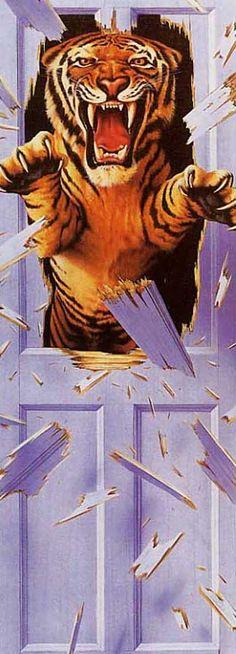Tween boy's bedroom mural - interesting. Maybe an alien or robot instead of tiger....