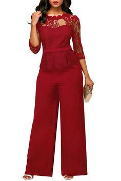 Burgundy Lace Peplum Top Wide Leg Jumpsuit only US 37.89  a77cdb7cb6d