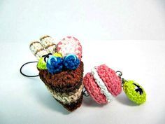 Chocolate Cake Slice Amigurumi Crochet Cake Cell phone by Ellyne, $11.30