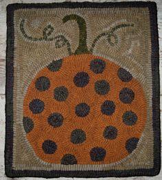 Items similar to Primitive Rug Hooking Pattern-Polka Dot Pumpkin on Etsy Rug Hooking Designs, Rug Hooking Patterns, Wooly Bully, Hand Hooked Rugs, Penny Rugs, Hand Tufted Rugs, Wool Applique, Lana, Polka Dots