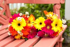 bright summer bouquets with yellow, orange & pink gerber daisies