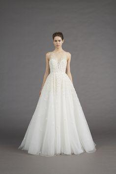 Beaded crystal flower petals illusion top Amsale wedding dress: http://www.stylemepretty.com/2016/10/16/prettiest-wedding-dresses-fall-2017-bridal-week/ Courtesy: Amsale -  http://amsale.com/