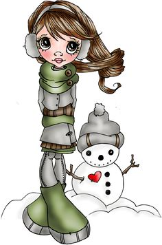Snowman Love digital stamp by Saturated Canary - digital coloring by Sherry
