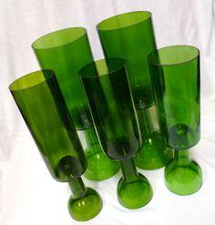 Repurposed Wine Bottles as glasses/