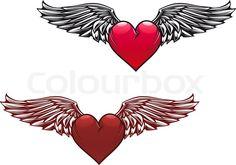 Hearts Angel Wings Tattoos | 5 point star tattoos