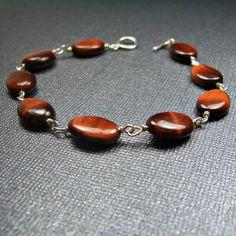 SS Red Tigers Eye Bracelet - Reiki Charged, Red Tigers Eye Bracelet, Red Stone Bracelet, Red Gemstone Bracelet, Wire Wrapped Bracelet #handmadejewelry #gemstonejewelry